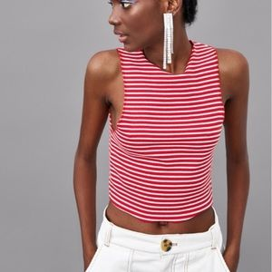 Zara cropped top ribbed stripe red and white s